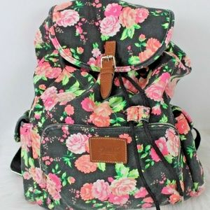 PINK Victorias Secret Floral Canvas Backpack